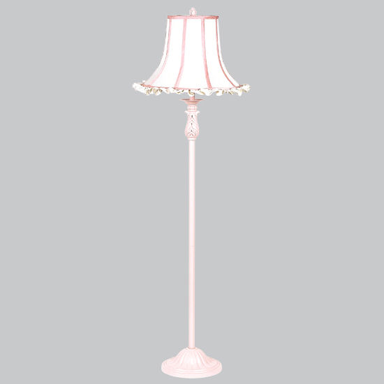 Pink ridged floor lamp white ruffle pink shade the frog for Light pink floor lamp shade