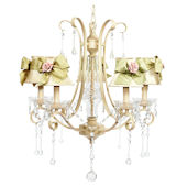 Colleen Ivory Chandelier With SageGreen Sash Shade