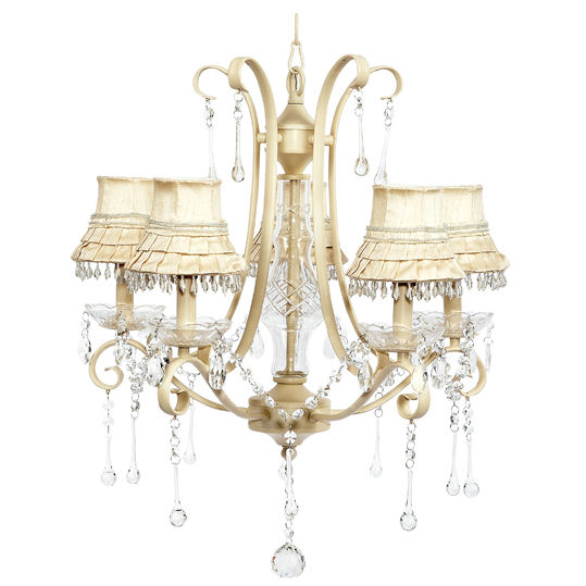 Colleen Ivory Chandelier With Skirt Dangle Shades