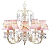 5 Arm Waterfall Chandelier Ivory Ribbon Shade