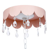 Pink Scalloped Ceiling Medallion Hanging Crystals