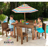 Table and Stacking Chairs with Striped Umbrella