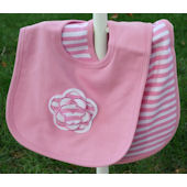 Striped Flower  Bib Set
