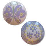 Lavender and Yellow Butterfly Daisy Drawer Knobs