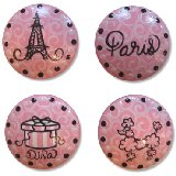 Paris Pink Poodle Swirls Drawer Knobs