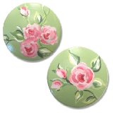 Shabby Sage Roses Drawer Knobs