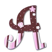 Pink Chocolate Flowers  Hand Painted Wall Letters