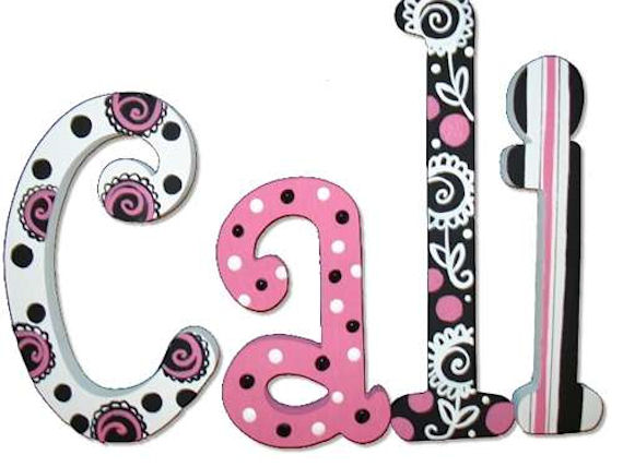 pretty pink and black hand painted wall letters