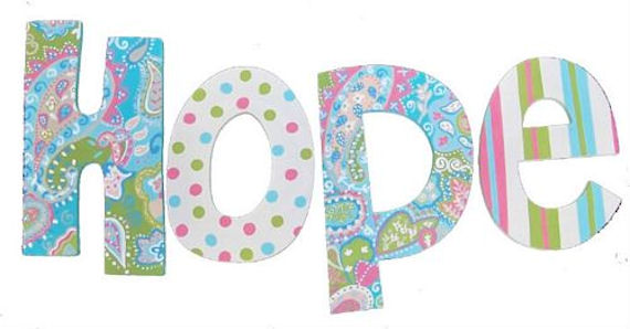 spring paisley hand painted wall letters