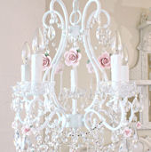 5 Arm Crystal Chandelier With Pink Porcelain Roses