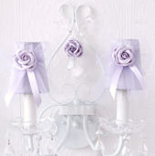 Two Light Wall Sconce With Lavender Tulle shades