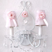 Two Light Wall Sconce With Pink Tulle shades