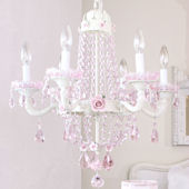 Fairytale Empire Pink Crystal And Rose Chandelier