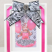 Personalized Picture Frame With Zebra Ribbon Bow