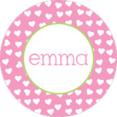 Pink Happy Hearts  Personalized Dinnerware