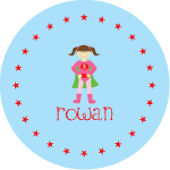 Blue and Pink Super Girl  Personalized Dinnerware