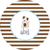 Boys Striped Puppy Personalized Dinnerware