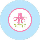 Pink Ocotopus Personalized Dinnerware