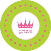 Pink and Green  Crown Personalized Dinnerware