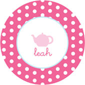 Pink Polka Dot Teapot  Personalized Dinnerware