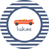 Striped Race Car Personalized Dinnerware