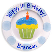 Boys 1st Cupcake Personalized Plate