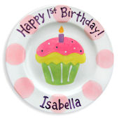 Girls 1st Cupcake Personalized Plate