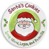 Cookies For Santa Green Personalized  Plate