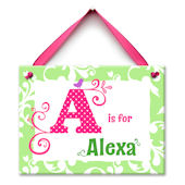 Pink and Green Monogram Me Personalized Plaque