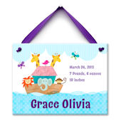 Noahs Ark Girls Birth  Personalized Plaque
