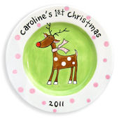 Reindeer Girl Christmas Personalized Plate