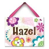 Flower Doodle Name Wall Tile