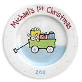Babys First Christmas Boys Personalized Plate