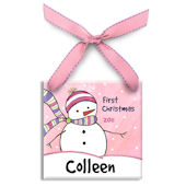 Chilly Snowman Girl  Personalized Ornament