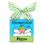 Grandmas Little Angel Boy  Personalized Ornament