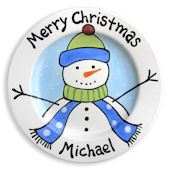 Merry Christmas Snowman Boys  Personalized Plate