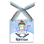 Snow Bunny Boy  Personalized Ornament