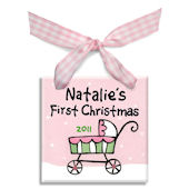 Stroller Girls First  Personalized Ornament