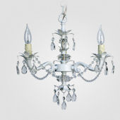 Tara Matte White With Crystal Chandelier