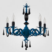 Faith Neon Blue With Black Crystal Chandelier