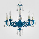 Faith Neon Blue With Clear Crystal Chandelier