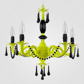 Faith Neon Yellow With Black Crystal Chandelier