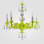 Faith Neon Yellow With Clear Crystal Chandelier