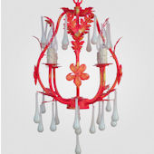 Phoebe Distressed Yellow And Red Chandelier