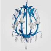 Phoebe Neon Blue With Clear Crystal Chandelier