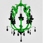 Phoebe Neon Green With Black Crystal Chandelier