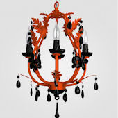 Phoebe Neon Orange With Black Crystal Chandelier