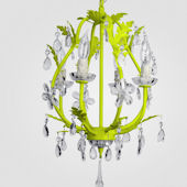 Phoebe Neon Yellow With Clear Crystal Chandelier