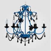 Sonja Neon Blue With Black Crystal Chandelier
