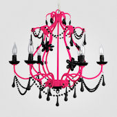 Sonja Neon Fuchsia With Black Crystal Chandelier